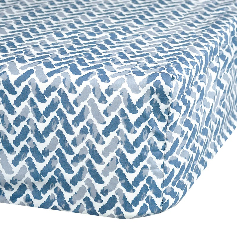Crib Fitted Sheet Chevron -Blue