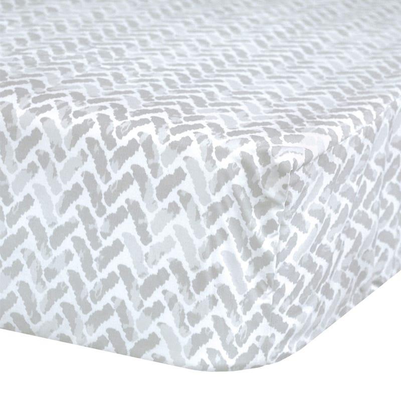 Crib Fitted Sheet Chevron - Gray