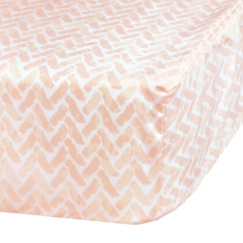 Crib Fitted Sheet Chevron - Pink