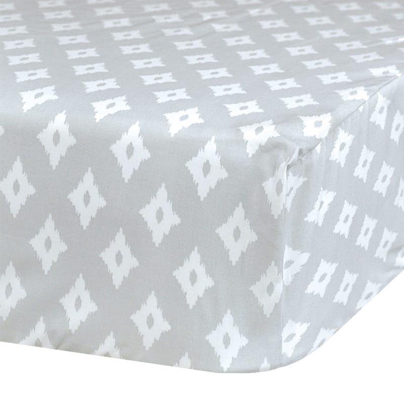 Crib Fitted Sheet Diamond - Gray