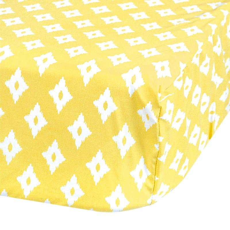 Crib Fitted Sheet Diamond - Yellow