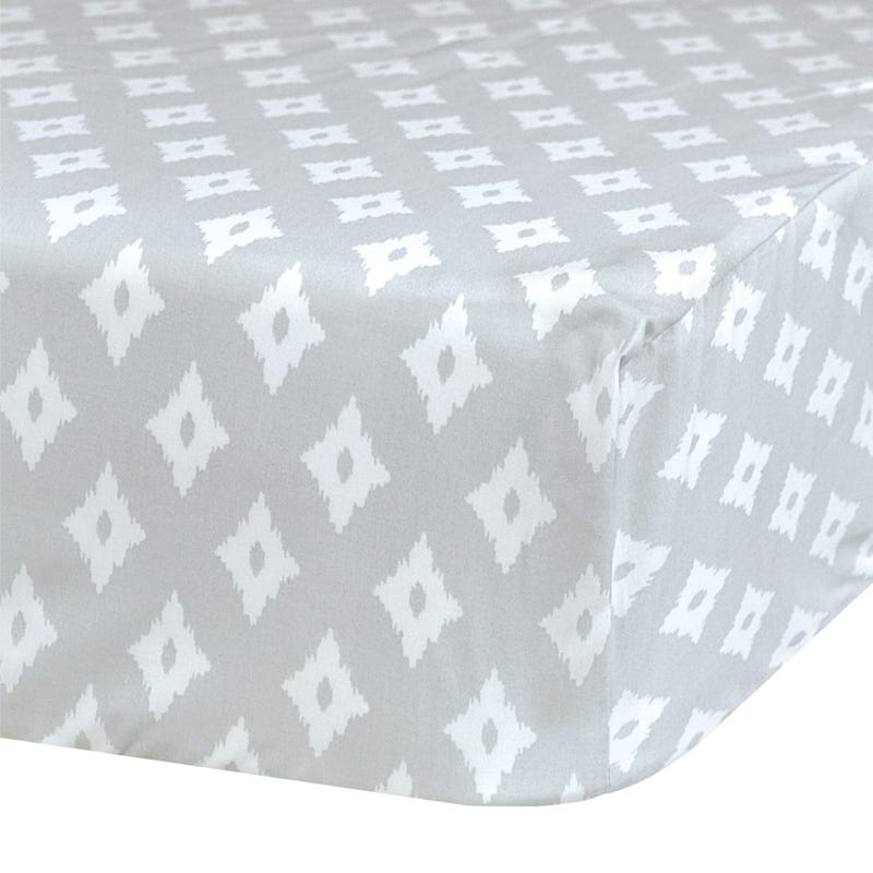 Crib Flat Sheet Diamond - Gray