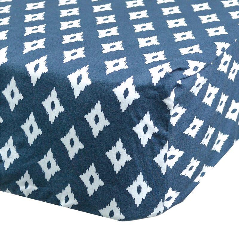Crib Flat Sheet Diamond - Navy