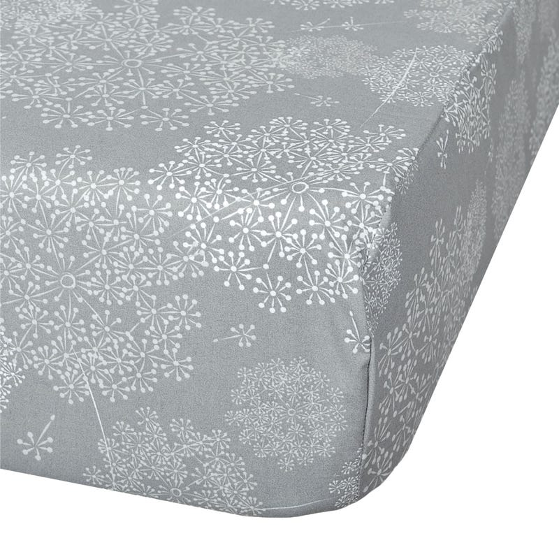 Crib Fitted Sheet - Dandelions Grey