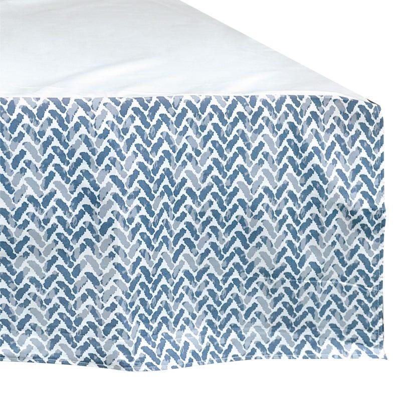 Printed Bed Skirt Chevron - Bleu