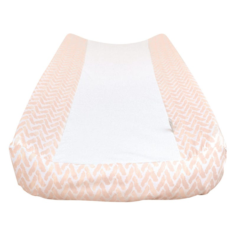 Changing Pad Cover Chevron -Pink