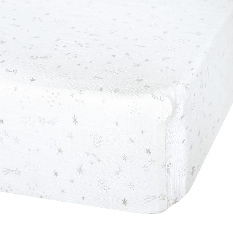 Crib Fitted Sheet Muslin Star