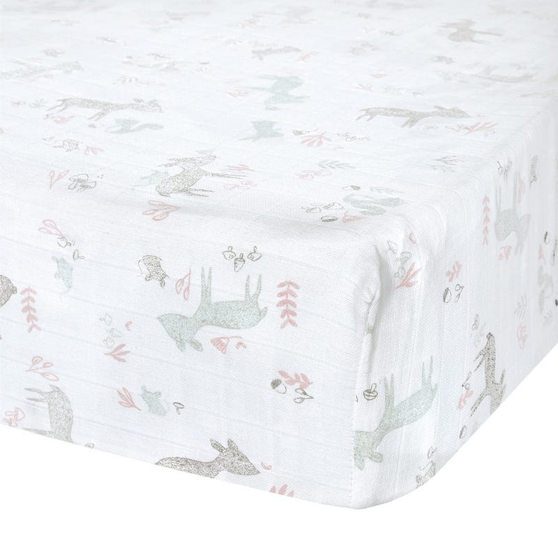 Crib Fitted Sheet Muslin Fo Pk