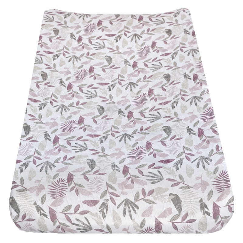 Muslin Changing Pad Cover - Tropical Plum