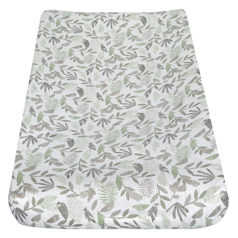 Muslin Changing Pad Cover - Tropical Green