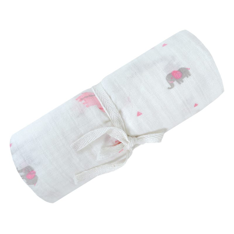 Cotton Muslin Swaddle Safari - Pink