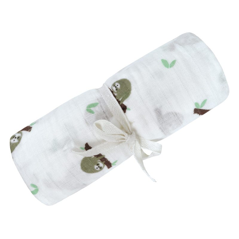 Cotton Muslin Swaddle - Sloth