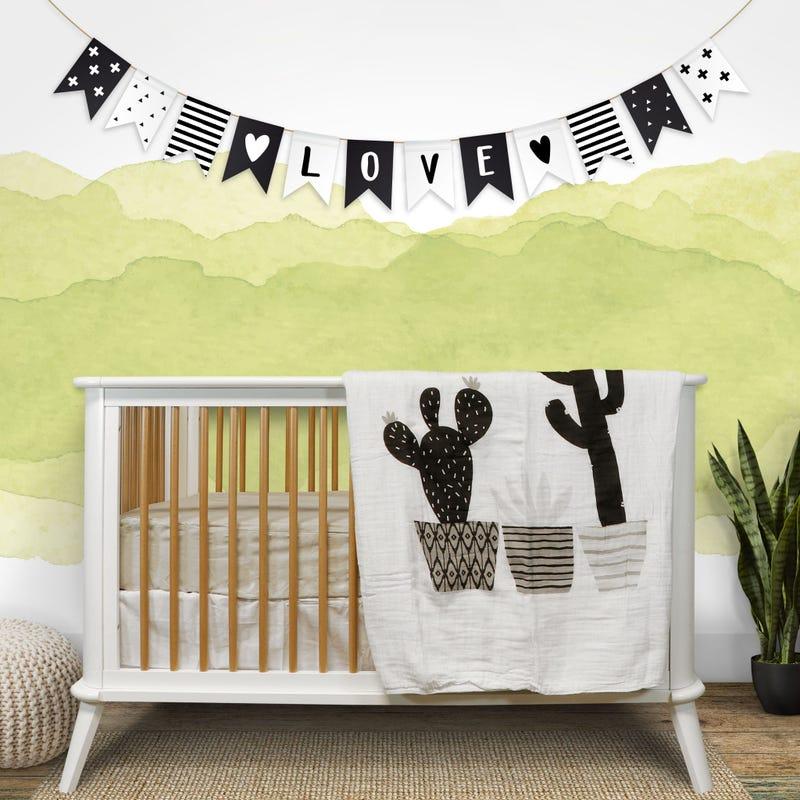 4 ply muslin quilt blanket Cactus - Black
