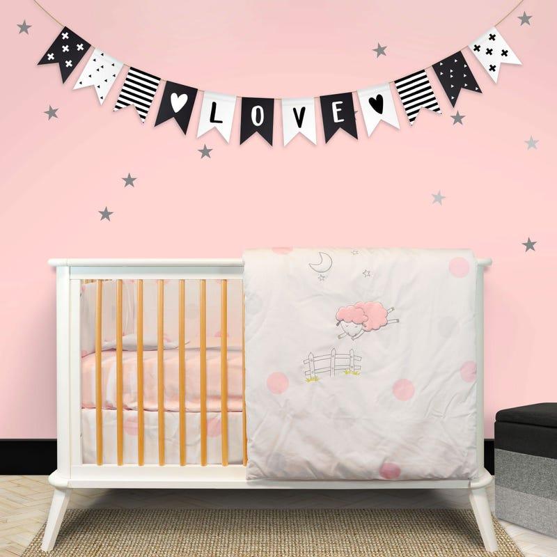 4-Piece Crib Bedding Set - Pink Clementine