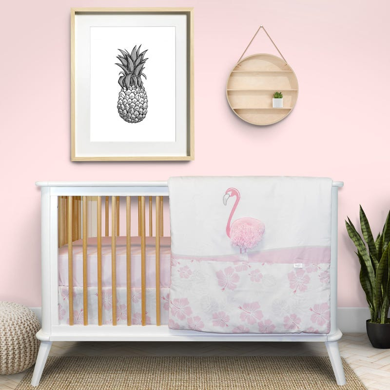 3-Piece Crib Bedding Set - Flamingo