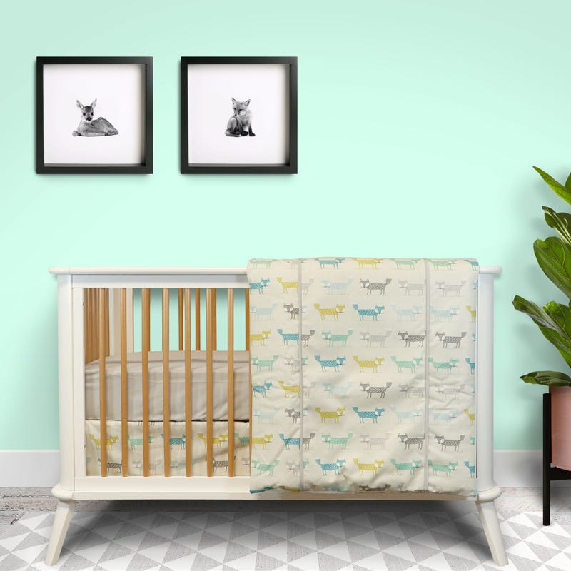 4-Piece Crib Bedding Set - Fox