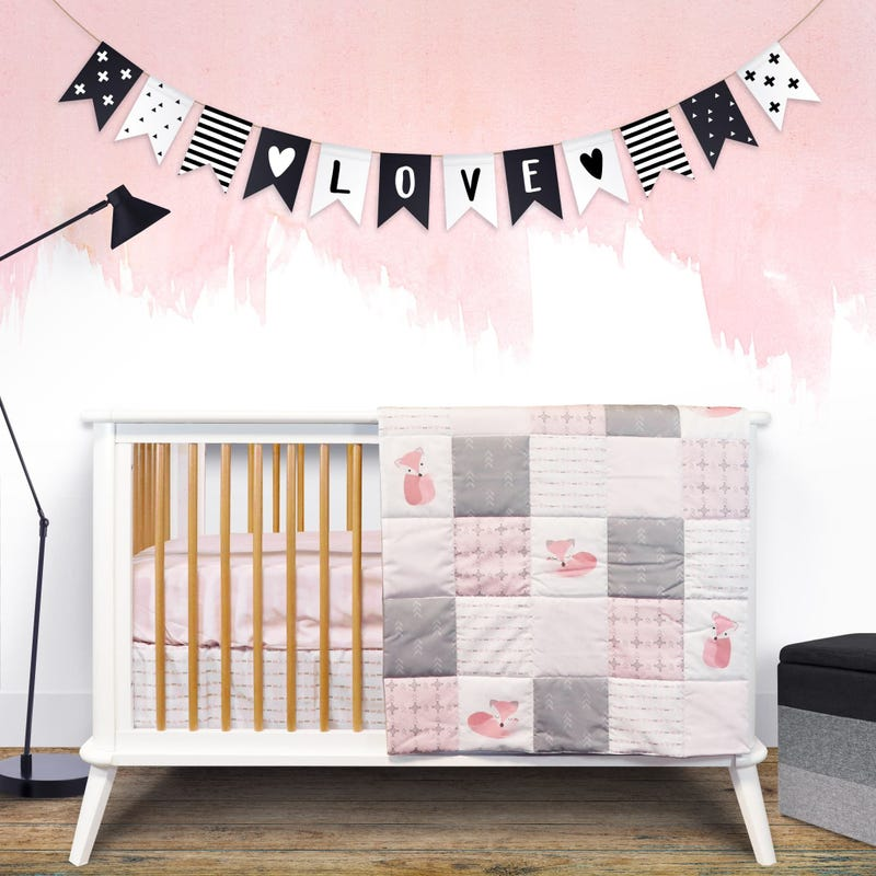 4-Piece Crib Bedding Set - Pink Fox