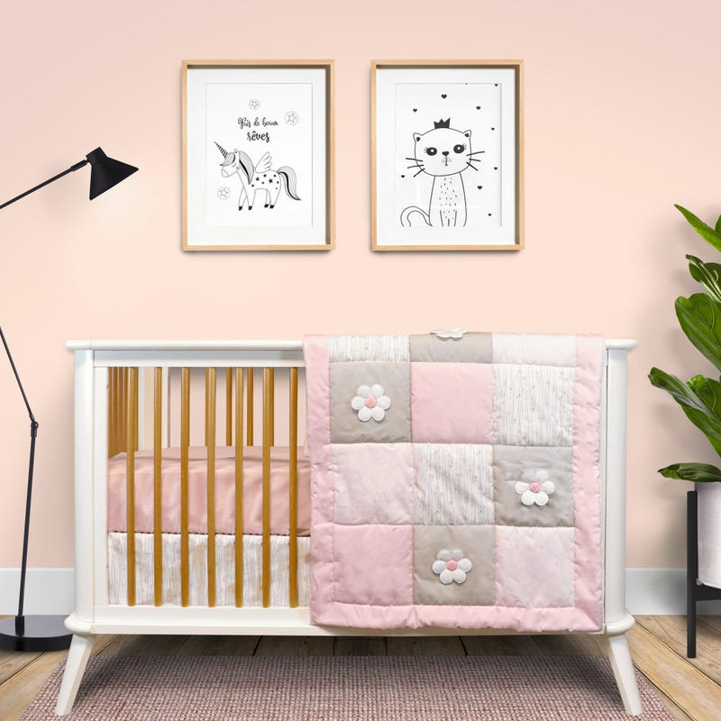 3-Piece Crib Bedding Set - Mona Flowers