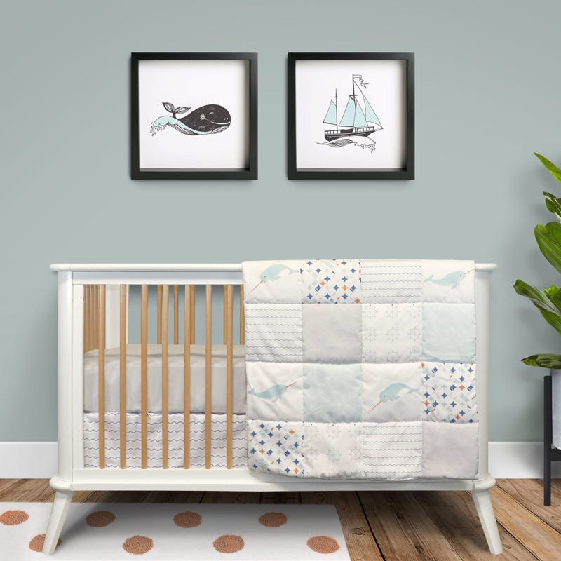 3-Piece Crib Bedding Set - Narwhal