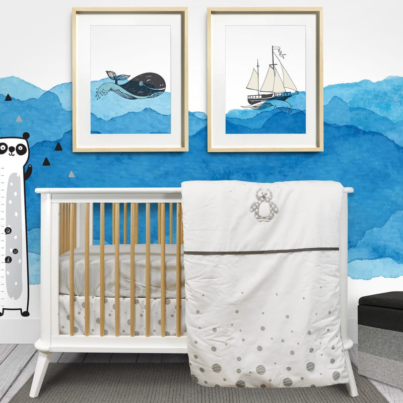 5-Piece Crib Bedding Set - Penguin