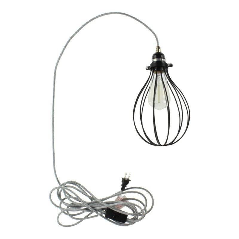 Plugitn Lighting Black Drop Lampshade- White/Gray
