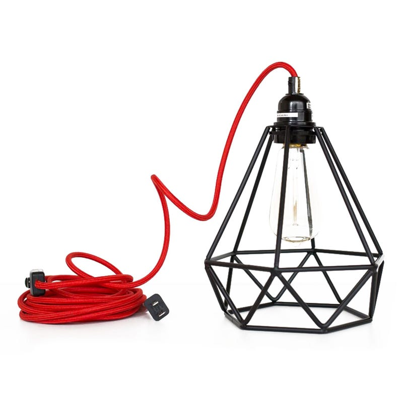Plugitn Lighting Black Geometric Lampshade - Red