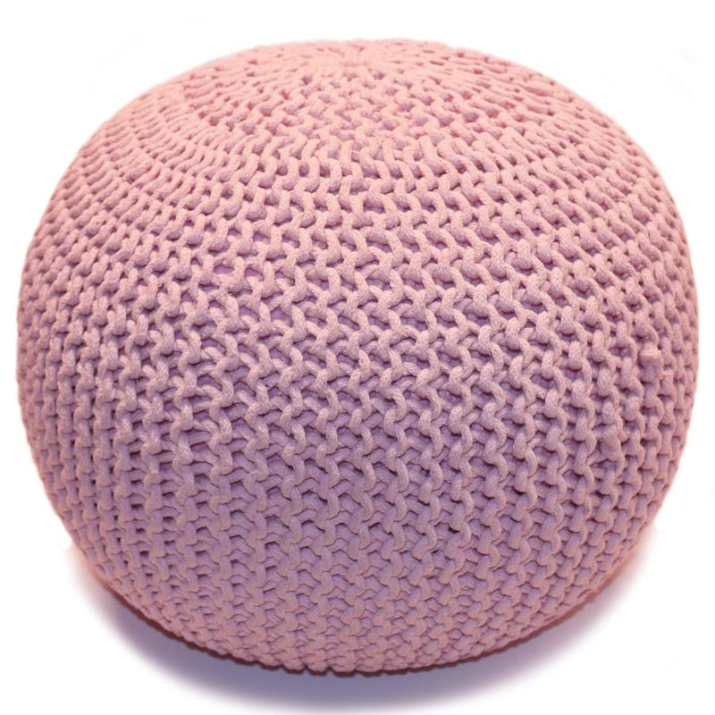 Knitted Round Pouf - Pink
