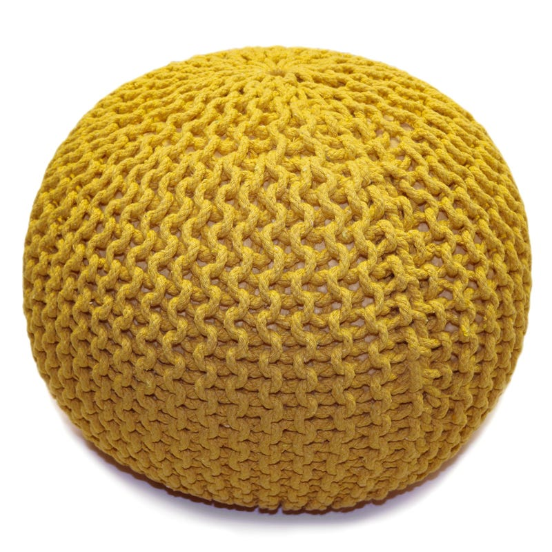 Knitted Round Pouf - Yellow