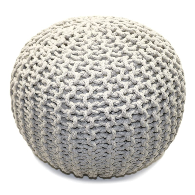 Knitted Round Pouf - Ivory