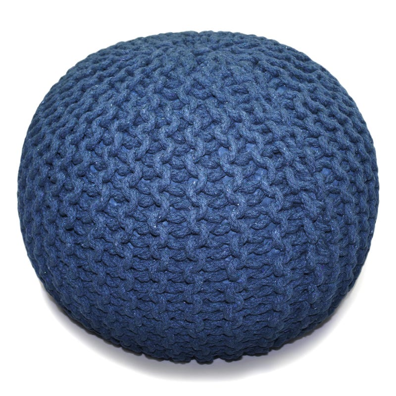 Knitted Round Pouf - Navy