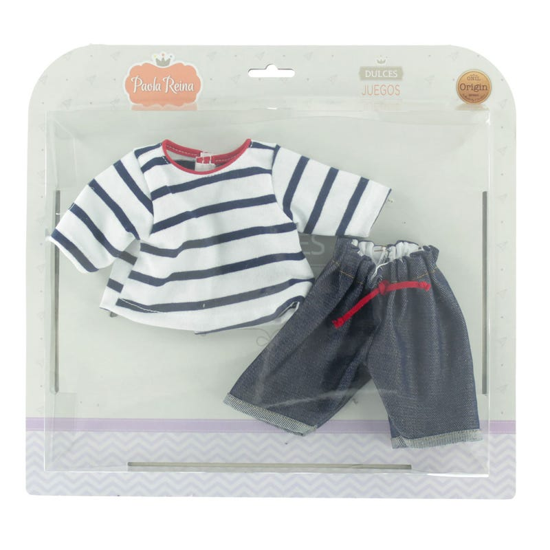 Jeans and Striped Shirt Set - Navy