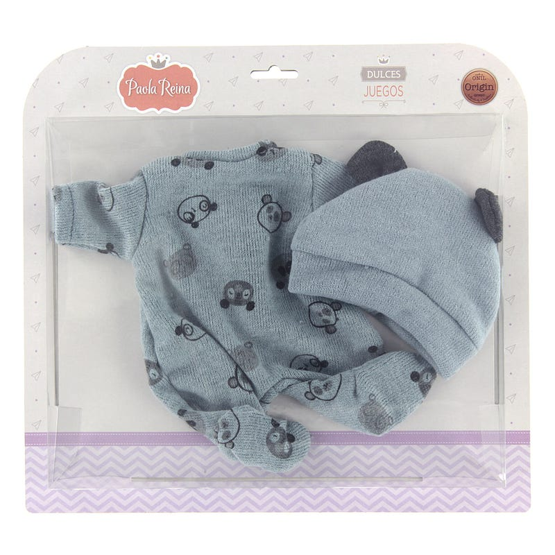 Blue Bear Pajamas with Hat for Doll