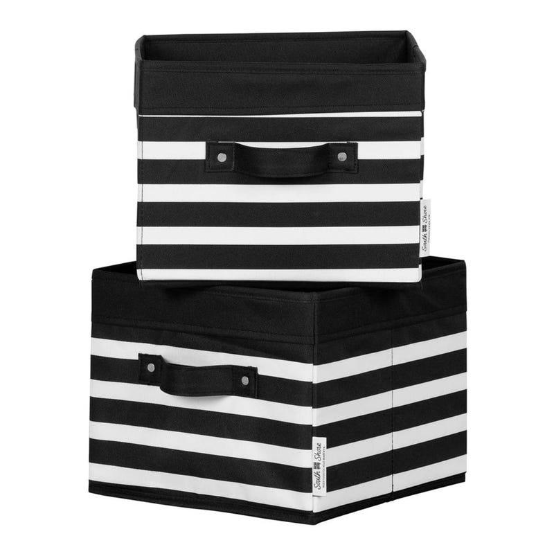 Ensemble de 2 Paniers Lignées - Noir/ Blanc