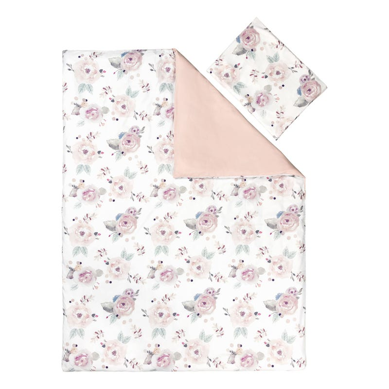 Duvet Cover Twin Set - Floral pink