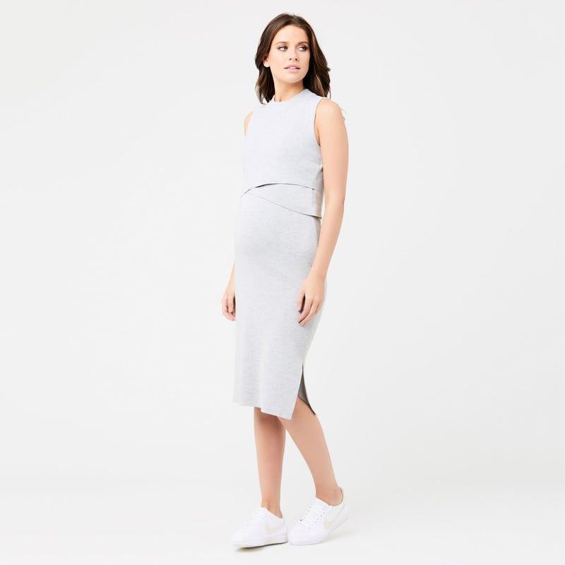 Layered Knit Nursing Dress