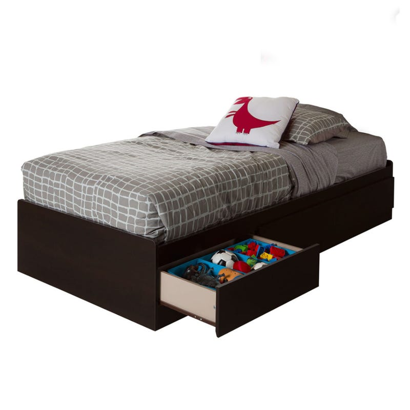 Vito Twin Mates Bed with 3 Drawers - Chocolate