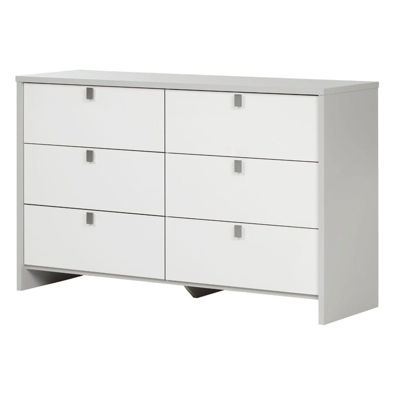 Cookie 6-Drawer Double Dresser - Soft Gray and Pure White