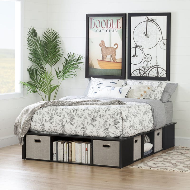Bed with Storage and Baskets - Flexible Black Oak