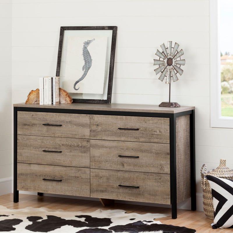 6-Drawer Double Dresser - Munich Weathered Oak and Matte Black