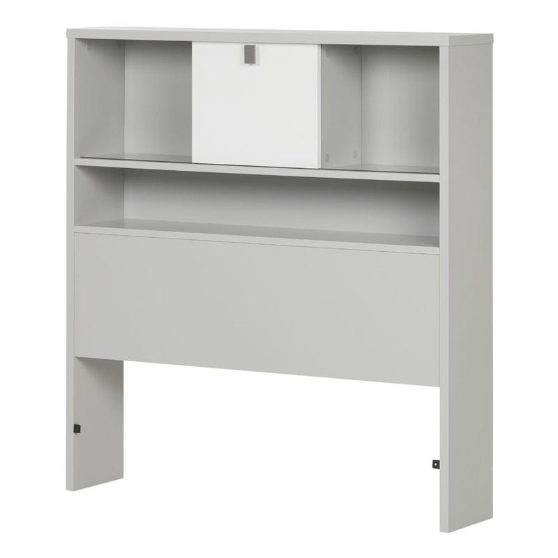 Cookie Twin Bookcase Headboard - Soft Gray and Pure White