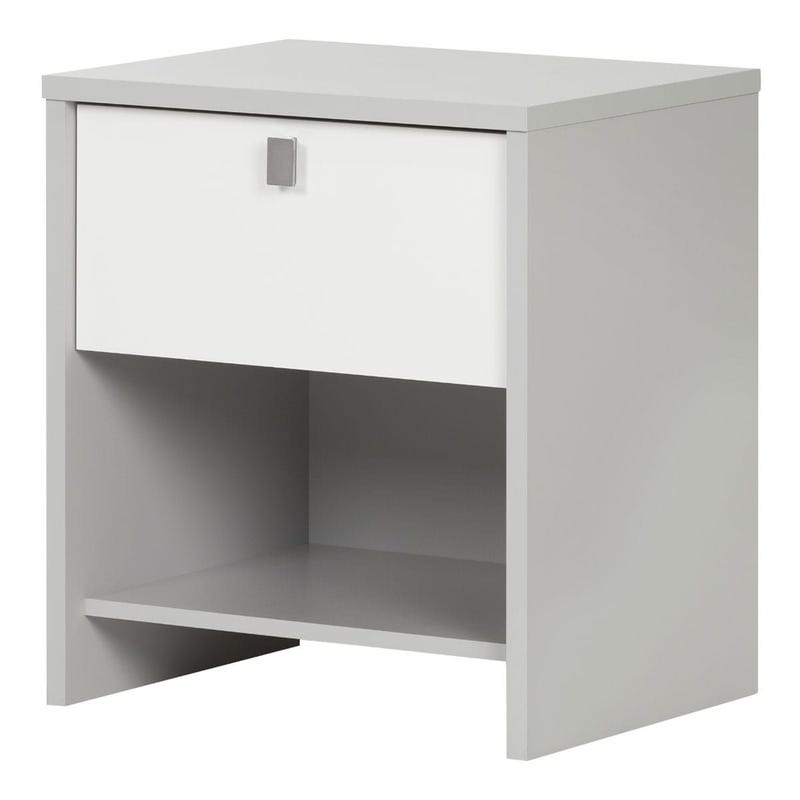 Cookie 1-Drawer Nightstand - Soft Gray and Pure White
