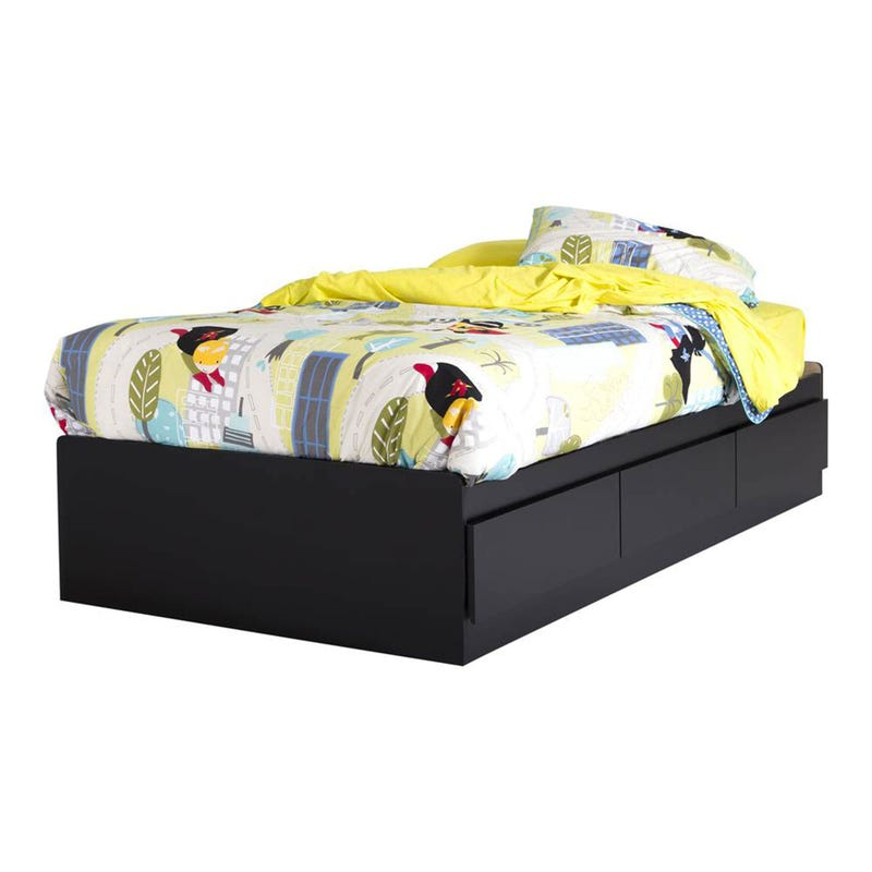 Step One Mates Bed with 3 Drawers - Pure Black