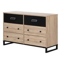 Induzy 6-Drawer Double Dresser - Rustic Oak and Matte Black