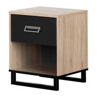 Induzy 1-Drawer Nightstand - Rustic Oak and Matte Black