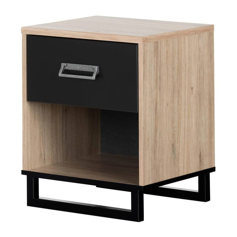 Induzy 1-Drawer Nightstand - Rustic Oak and Matte Black