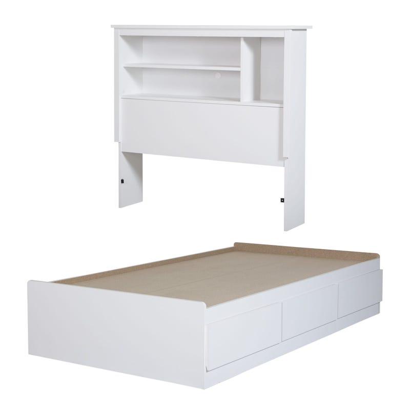 Mates Bed With Bookcase Headboard Set - Vito Pure White