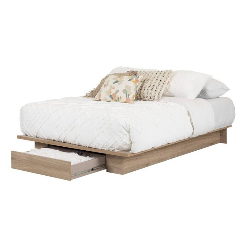 Primo Platform Double/Queen Bed with Drawer - Rustic Oak