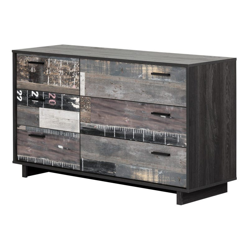Fynn 6-Drawer Double Dresser - Gray Oak and Factory Planks Effect