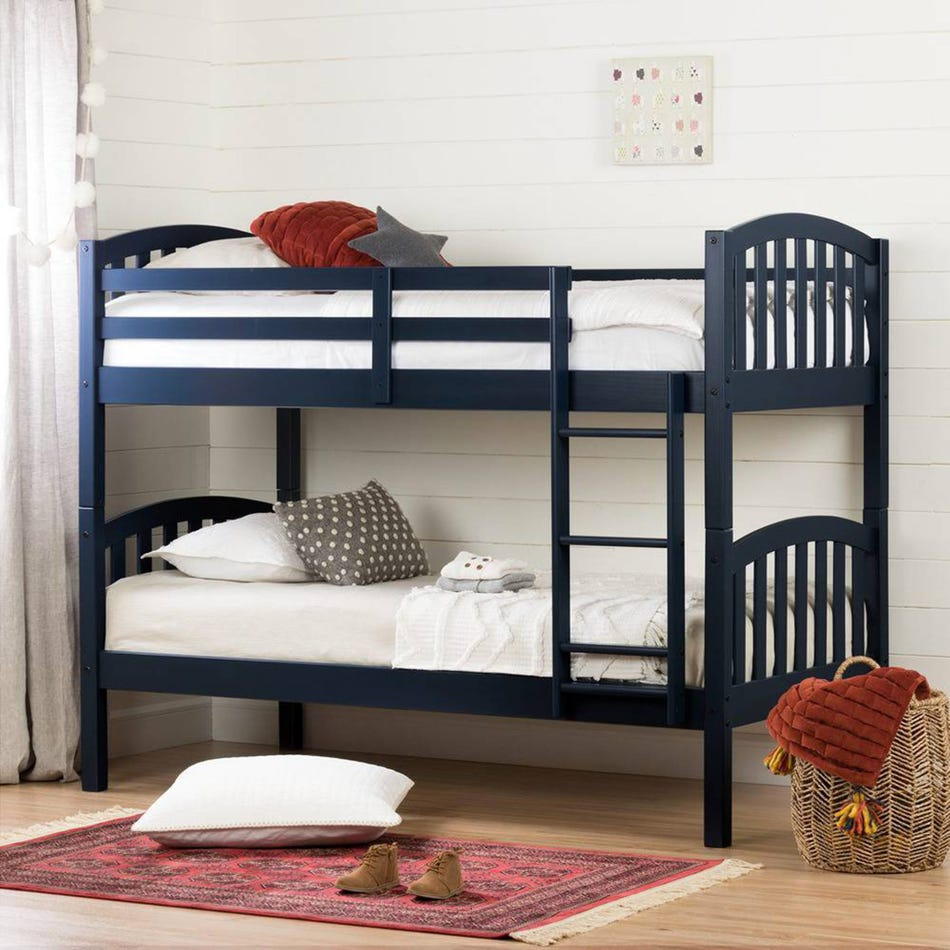 South Shore Furnitures Summer Breeze Solid Wood Twin Bunk Beds Navy Blue Clement