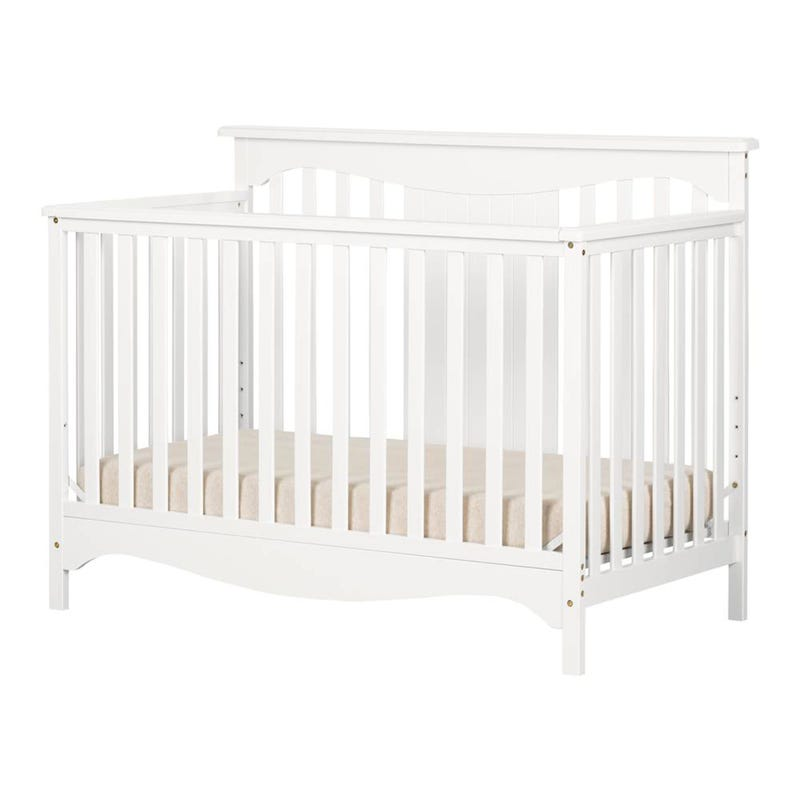 Savannah Baby Crib 4 Heights with Toddler Rail - Pure White